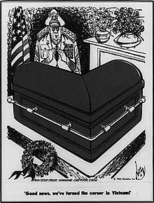"Cartoon has an L-shaped coffin of which a military general exclaims, ""Good news, we've turned the corner in Vietnam!"" A U.S. flag stands in the left corner."