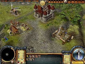 The Settlers: Heritage of Kings - Screenshot of Heritage of Kings, showing the selection of standard military units and hero units; the player has currently selected Helias, Dario and Erec, as well as nine swordsmen groups. The names of hero units are displayed on-screen over the unit, whilst a graphic of all selected units appears on the right. The image also shows the game's newly designed HUD and the use of 3D graphics.