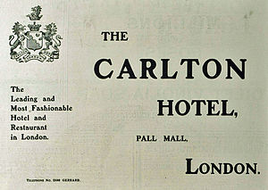 Carlton Hotel, London - Badge of The Carlton, 1903