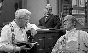 Inherit the Wind (1960 film) - Spencer Tracy, Harry Morgan, and Fredric March during the questioning of Brady by Drummond