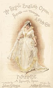 "Colourful programme cover for Ivanhoe, showing one of the characters in a white wedding dress, under the words ""The Royal English Opera"""