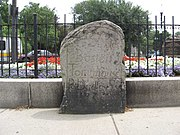 Milestone marks five miles (8 km) from the Boston Town House (now the site of the Old State House in downtown Boston) placed at the current day Soldier's Monument by Paul Dudley in 1735