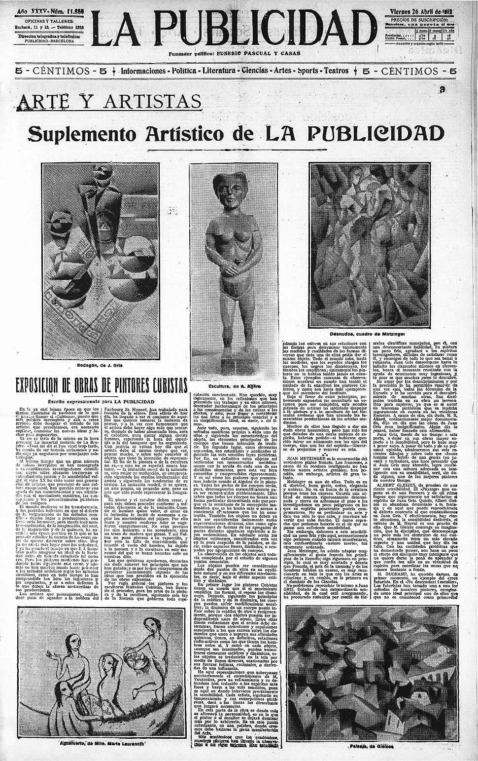 Juan Gris, August Agero, Jean Metzinger, Marie Laurencin, Albert Gleizes, La Publicidad, 26 April 1912