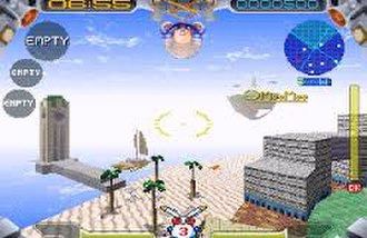 Jumping Flash! 2 - A screenshot from the first level showing the updated interface