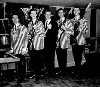 """The Kingsmen - 1963 """"Louie Louie"""" line-up. L-R Don Gallucci, Jack Ely, Lynn Easton, Mike Mitchell, and Bob Nordby"""