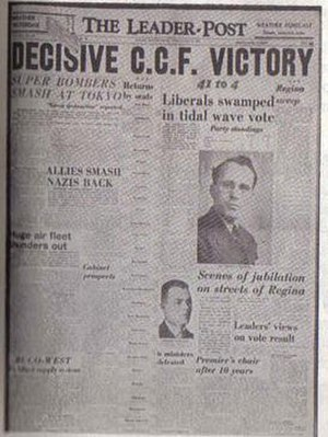 Tommy Douglas - The Leader-Post announces the CCF victory, 1944