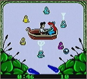 "The Little Mermaid II: Pinball Frenzy - The Little Mermaid II: Pinball Frenzy screenshot, with the player completing a minigame based on the musical sequence for ""Kiss the Girl""."