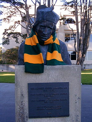 Anthony Maraschi - Bust of Anthony Maraschi, S.J., adorned with USF's colors