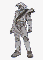 Early concept sketch done in pencil of a thin character, replete with bandoliers and other additional equipment in addition to his armor