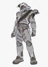 Wczesny szkic koncepcyjny wykonany ołówkiem o cienkiej postaci, wypełniony bandolierami i innym dodatkowym wyposażeniem oprócz zbroi