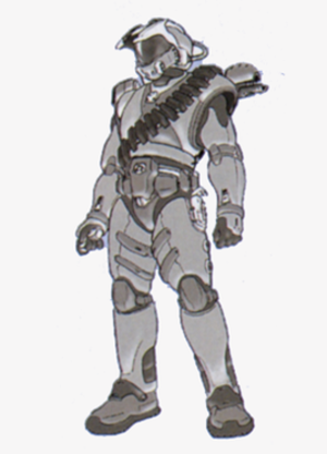 Master Chief (Halo) - Shi Kai Wang's preliminary sketch of the Master Chief in Halo: Combat Evolved