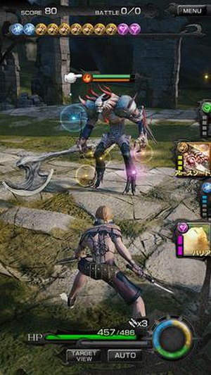 Mobius Final Fantasy - The battle system displaying the player character's health and energy, the ability icons, and Elements accumulating in the bar along the top of the screen. The enemy's health and break meter are displayed above it.