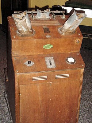 Shoe-fitting fluoroscope - A shoe fluoroscope displayed at the US National Museum of Health and Medicine. This machine was manufactured by Adrian Shoe Fitter, Inc. circa 1938 and used in a Washington, D.C., shoe store