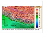 Geological Map of Nepal Showing Major Tectonic Thrusts.