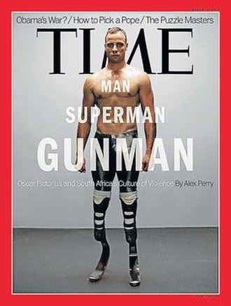 Trial of Oscar Pistorius - Pistorius on the cover of Time in 2013