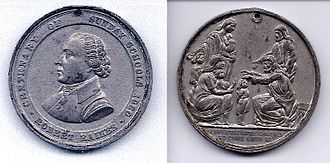 """Robert Raikes - Front and back of the 1880 """"Centenary of Sunday Schools"""" medal distributed to children attending Sunday Schools that year."""