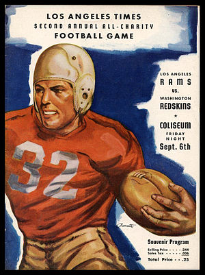 1946 Los Angeles Rams season - Program for the Rams' September 6, 1946 exhibition game against the Washington Redskins, the first played by the team in the Los Angeles Coliseum.