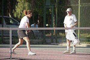 Rıza Maksut İşman - Riza Maksut (right) training tennis player