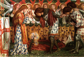 Percival - How Sir Galahad, Sir Bors and Sir Percival were Fed with the Sanc Grael; But Sir Percival's Sister Died by the Way, an 1864 watercolour by Dante Gabriel Rossetti