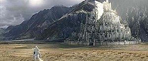 Gandalf approaching Minas Tirith in the film The Return of the King by Peter Jackson
