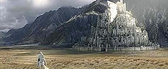 Minas Tirith - Gandalf approaching Minas Tirith in the film The Lord of the Rings: The Return of the King by Peter Jackson.
