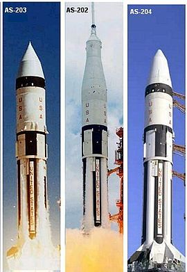 Three launch configurations of the Apollo Saturn IB rocket: no spacecraft (AS-203), Command/Service module (most missions); and AS-204 (Apollo 5), Lunar Module