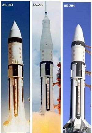 Saturn IB - Three launch configurations of the Apollo Saturn IB rocket: no spacecraft (AS-203), Command/Service module (most missions); and Lunar Module (Apollo 5)