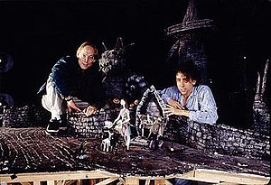 director henry selick left and producer tim burton right on the nightmare before christmas set - A Nightmare Before Christmas