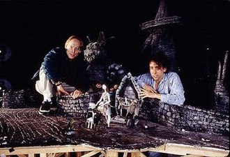 The Nightmare Before Christmas - Director Henry Selick (left) and producer Tim Burton (right) on the Nightmare Before Christmas set.