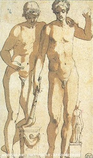 Castor and Pollux (Prado) - Poussin's pen and brown-wash sketch of this group (c. 1628).