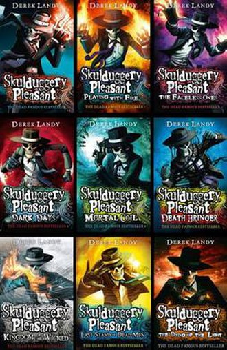 Skulduggery Pleasant - The covers of the first series of Skulduggery Pleasant