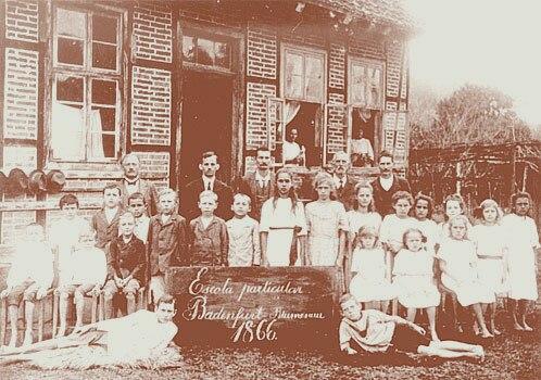 Students and teachers at a German school in Blumenau in 1866