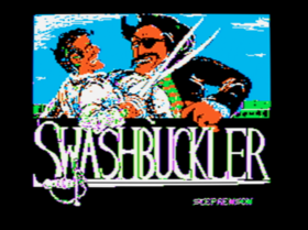 The title screen from Swashbuckler.