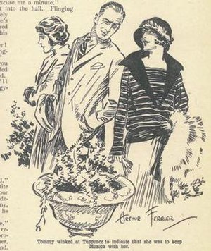 Partners in Crime (short story collection) - Illustration by Arthur Ferrier of Tommy and Tuppence from the December 1923 issue of The Grand Magazine and the first-known image of the characters