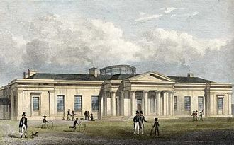"Edinburgh Academical Cricket Club - The New Academy by T. H. Shepherd circa 1828. Sports in the Academy ""Yards"" showing an early example of cricket in Scotland"