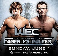 A poster or logo for WEC 34: Faber vs. Pulver.