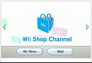 The Wii Shop Channel start screen