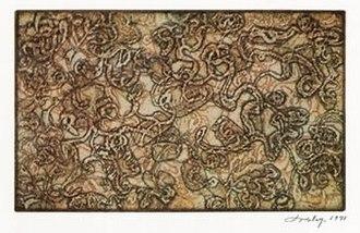 Mark Tobey - Thanksgiving Leaf, aquatint, 1971