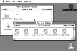 The original 1984 Mac OS desktop with the radically new graphical user interface.