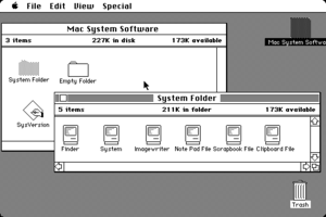Desktop metaphor - The original 1984 Mac OS desktop popularized the new graphical user interface. Users communicated with the computer not through abstract textual commands but rather using a metaphorical desktop that included icons of real life items with which the user was already familiar.
