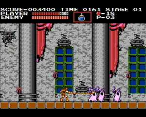Castlevania (1986 video game) - Screenshot of Castlevania on the NES.
