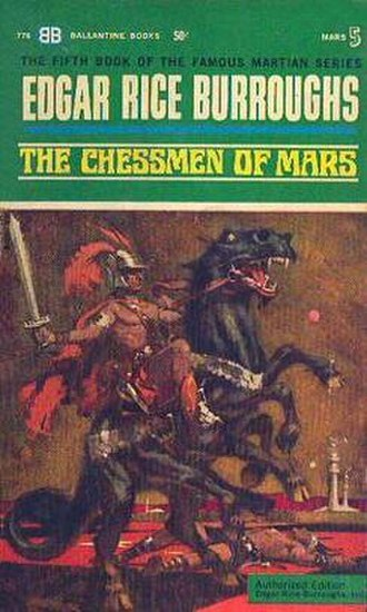 Jetan - The 1963 Ballantine Books paperback edition of The Chessmen of Mars, showing a live version of Jetan being played in the city of Manator. Cover illustration by Robert K. Abbett.