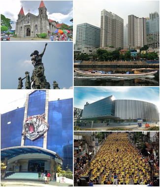 "From top left clockwise: San Felipe Neri Church, Buildings in Mandaluyong, SM Megamall, Record-breaking Zumba class, Mandaluyong City Hall, & ""Bantayog ng Kabataan"""