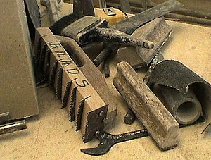 Stonemasonry - The foreground tool with serrated blades is a stonemason's  French drag, used on soft limestone