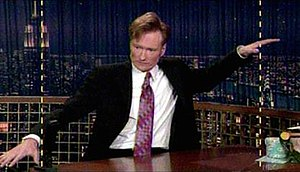 Conan O' Brien poking fun at his show's then new HDTV widescreen format.