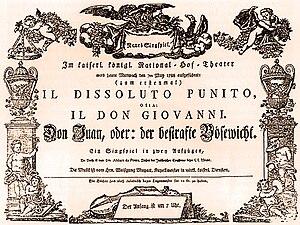 Don Giovanni - Original playbill for the Vienna premiere of Don Giovanni