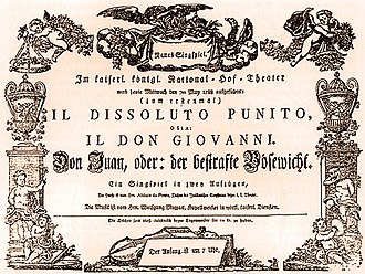 Don Giovanni - Original playbill for the Vienna premiere of Don Giovanni
