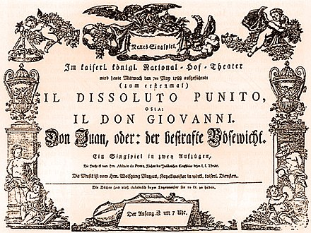 Original playbill for the Vienna premiere of Don Giovanni Don Giovanni Playbill Vienna Premiere 1788.jpg