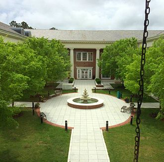 Coastal Carolina University - The fountain and courtyard of the Thomas W. and Robin W. Edwards College of Humanities and Fine Arts.