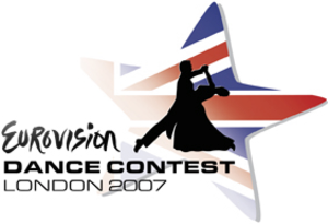 Eurovision Dance Contest - The logo of 2007 Contest features the word Eurovision written in the same way as it is on the Eurovision Song Contest logos without the heart and the silhouette of a dancing couple in front of a star that contains the flag of the host country, the United Kingdom.